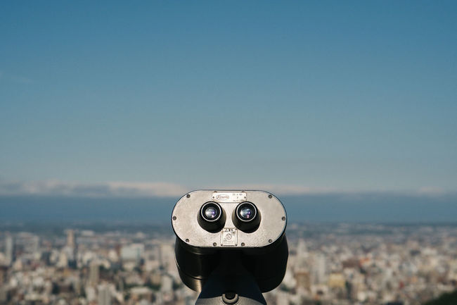 View of Sapporo City from Okurayama Viewing Point. Binoculars Cityscape Coin Operated Coin Operated Binoculars Hokkaido Japan No People Outdoors Sapporo Sky Sunlight Sunny