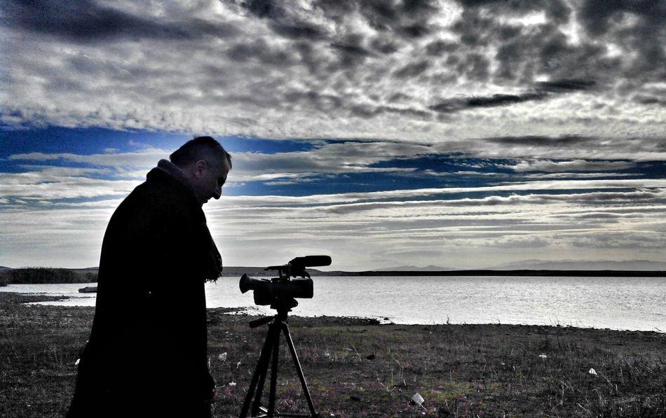 Hello World CameraMan Taking Video Sky Clouds Shades Of Grey Lake Enjoying Life Lakeside Lake View Life Evening View