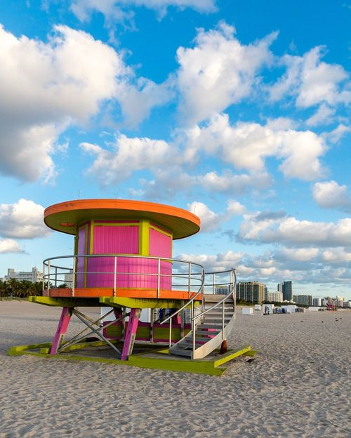 Sky Outdoors Multi Colored No People Architecture Chair Building Exterior Built Structure Cloud - Sky Day Nature Lifeguard Hut Horizon Over Water Miami Beach