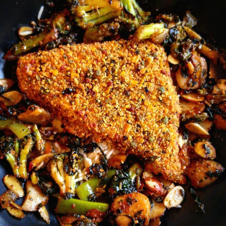 Crusted talapia... Food And Drink Close-up Food Indoors  Freshness Ready-to-eat Indulgence Main Course Meal Temptation Plate Cooked Homemade Brown Appetizer Serving Size Unhealthy Eating Lunch Dinner Food State Talapia Still Life Relaxation Dinner! Yummy :)