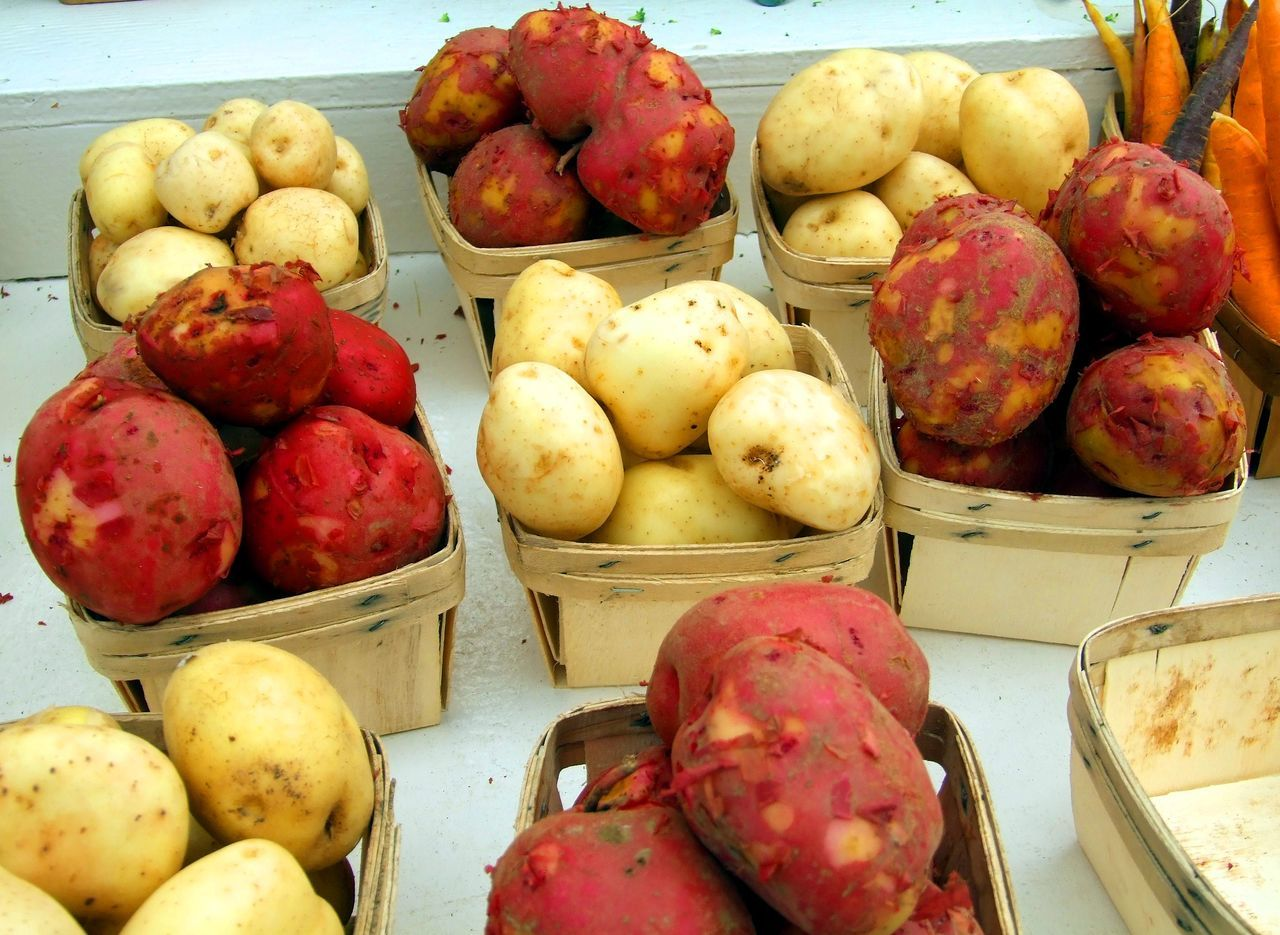 White and red potatoes for sale in quart boxes at farmers market Farmers Market Fresh Produce Choice Close-up Cooking Potatoes Day Farm To Table Food Food And Drink For Sale Fresh Fresh Vegetable Fresh Vegetables Freshness Healthy Eating Market No People Organic Potatoes Raw Potato Red Potato Red Potatoes Retail  White Potato White Potatoes