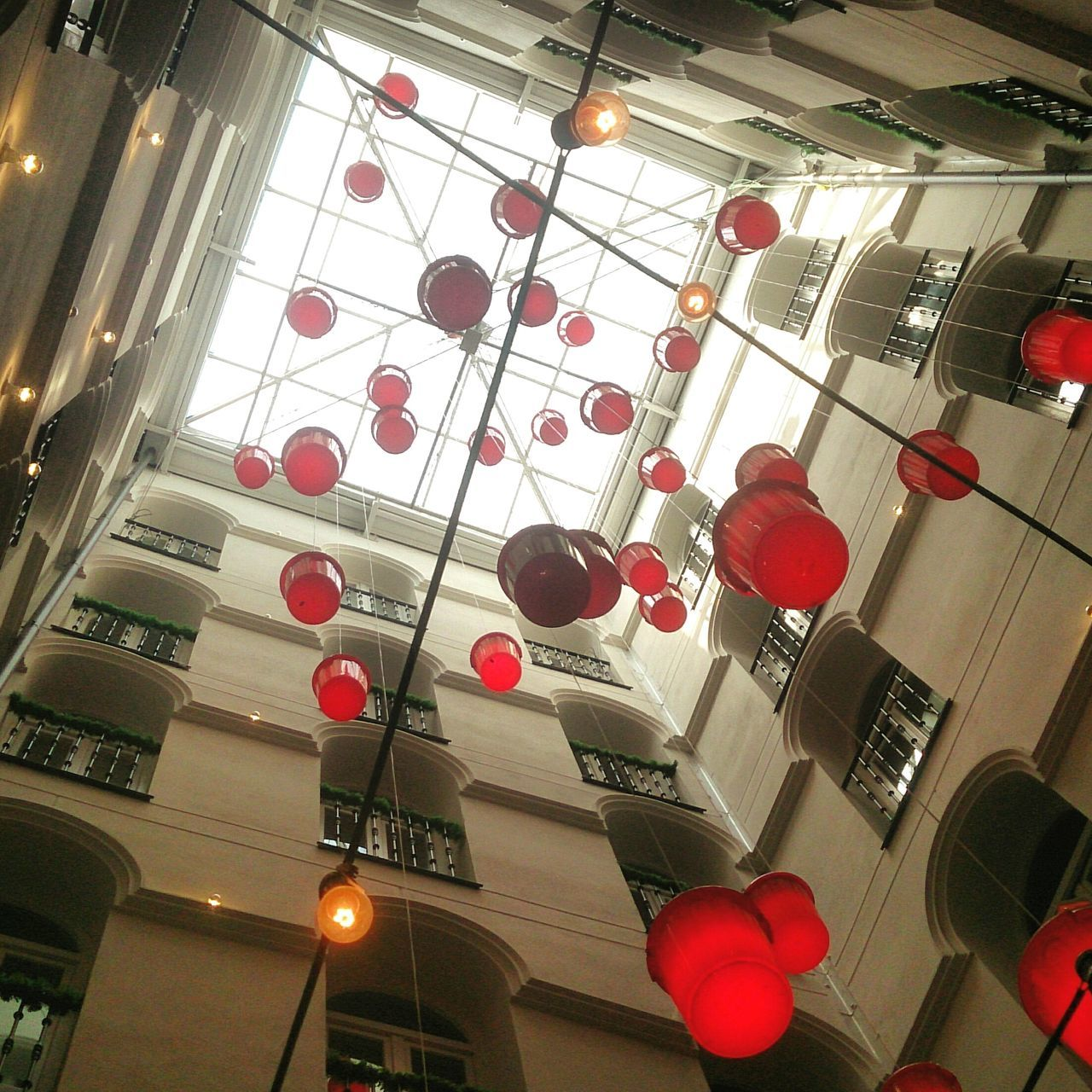 Cubos Rojo Patio Interior Buckets Hanging Decoration Indoors  Low Angle View Ceiling Architecture
