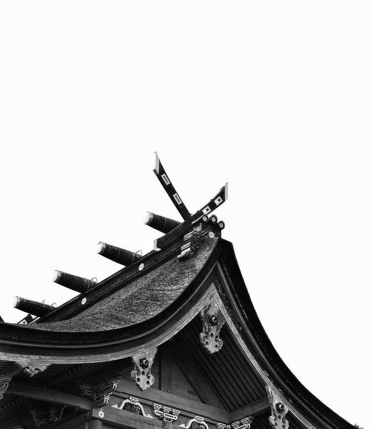 Details Roof Architecture Day Built Structure No People Sculpture Building Exterior Outdoors Clear Sky Sky Temple Roof Black And White
