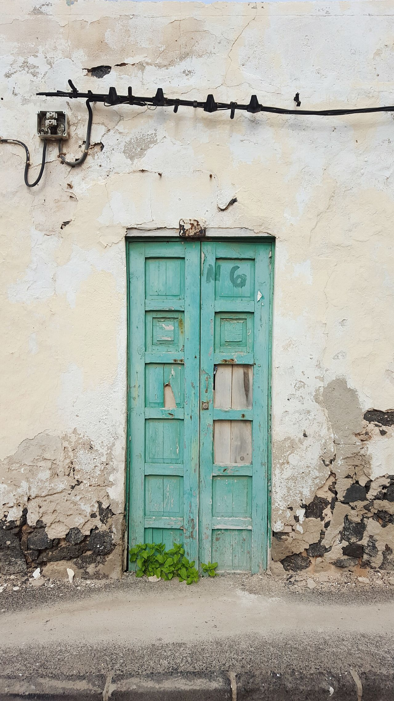 Door Outdoors Entrance No People Close-up Electricity Cables On Wall Old Wooden Door Electricity Cables Architecture