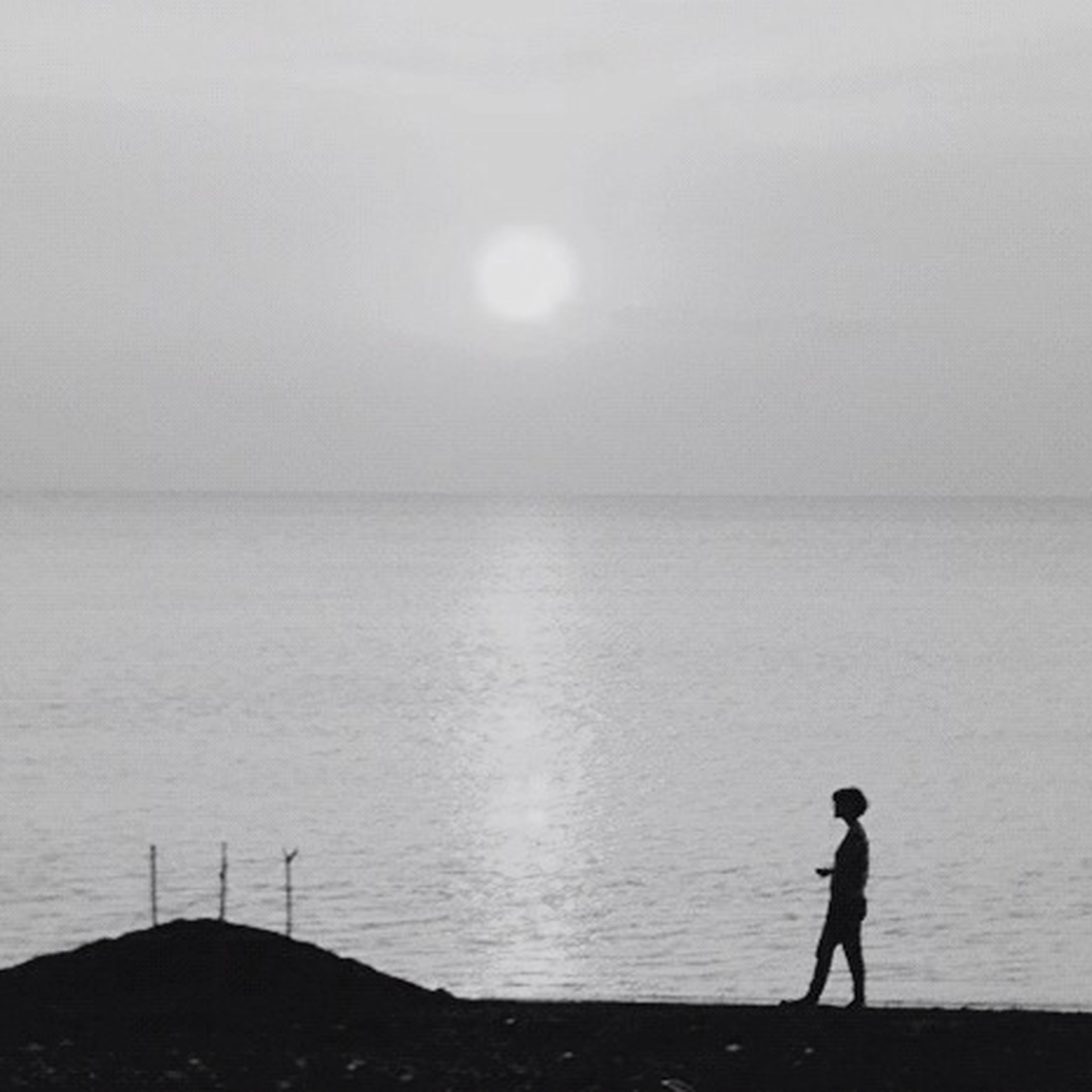 water, sea, horizon over water, standing, tranquility, tranquil scene, silhouette, lifestyles, leisure activity, scenics, full length, beauty in nature, rear view, nature, men, sky, idyllic, beach