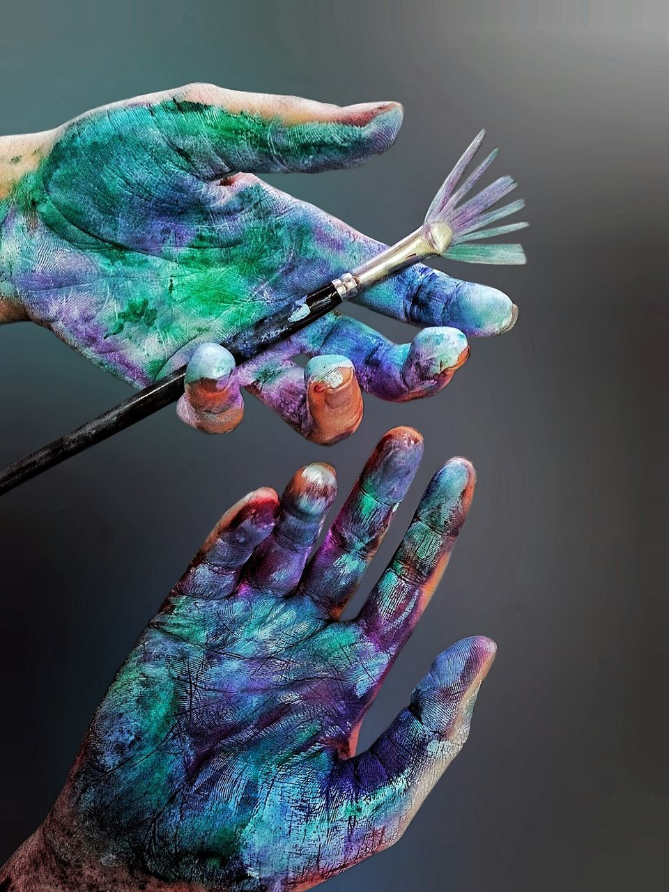 Close-Up Of Person Holding Paintbrush