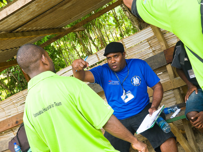 National Disaster Management Office Training unit Port Vila, Vanuatu. Blue Casual Clothing Cyclone Cyclone Pam Earthquake Green Color National Disaster Management Oxfam Person Port Vila, Vanuatu. Training Unit Training Unit Tree Vivid International