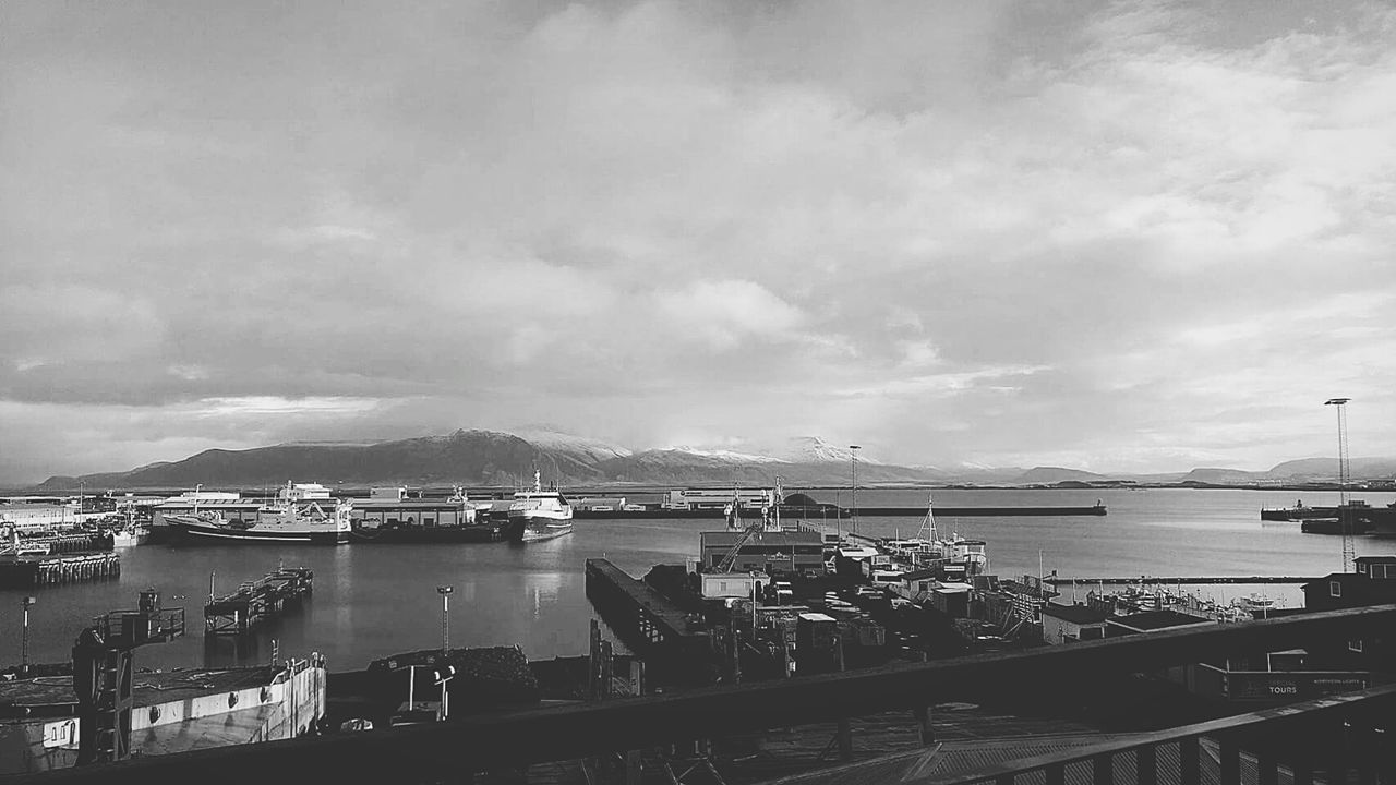 Harbour. Iceland Reykjavik Harbour Dry Dock Nautical Boats Sea Water Mountain Mountain View Black And White Blackandwhite Outdoors Cloudy Sky First Eyeem Photo