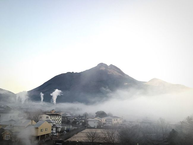 Built Structure Mountain Smoke - Physical Structure Building Exterior Air Pollution Architecture Smoke Stack Clear Sky Emitting Nature Industry Factory No People Outdoors Landscape Sky Natural Disaster Day Erupting Global Warming Yuhu-dake. EyeEmNewHere