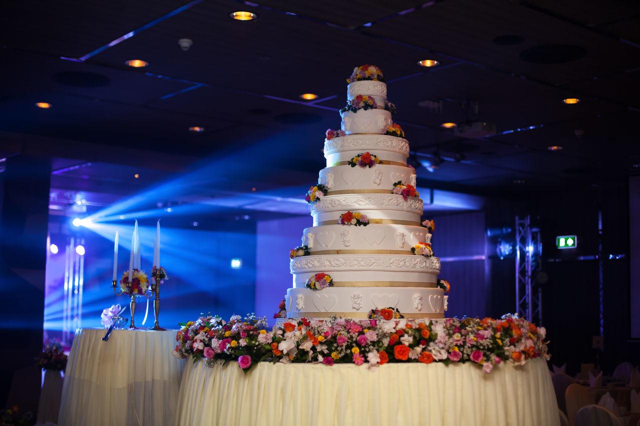 wedding cake Arts Culture And Entertainment Celebration Event Flower Illuminated Indoors  Night No People Wedding Cake
