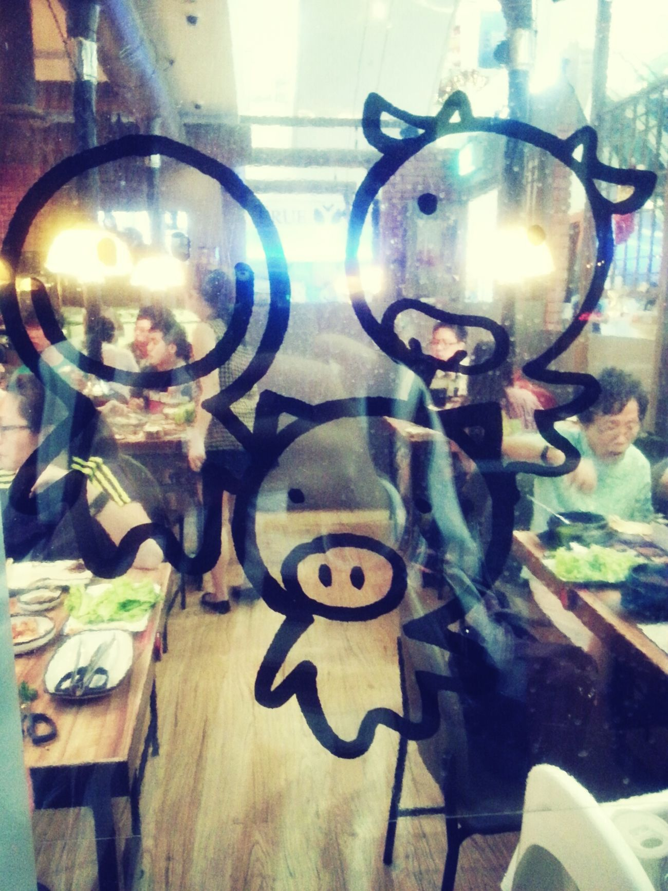 People Watching Hitchcock Stylewatching people devour their korean food through the glass. how cute are rjose stickers? they represent the three types of meat available in the restaurant