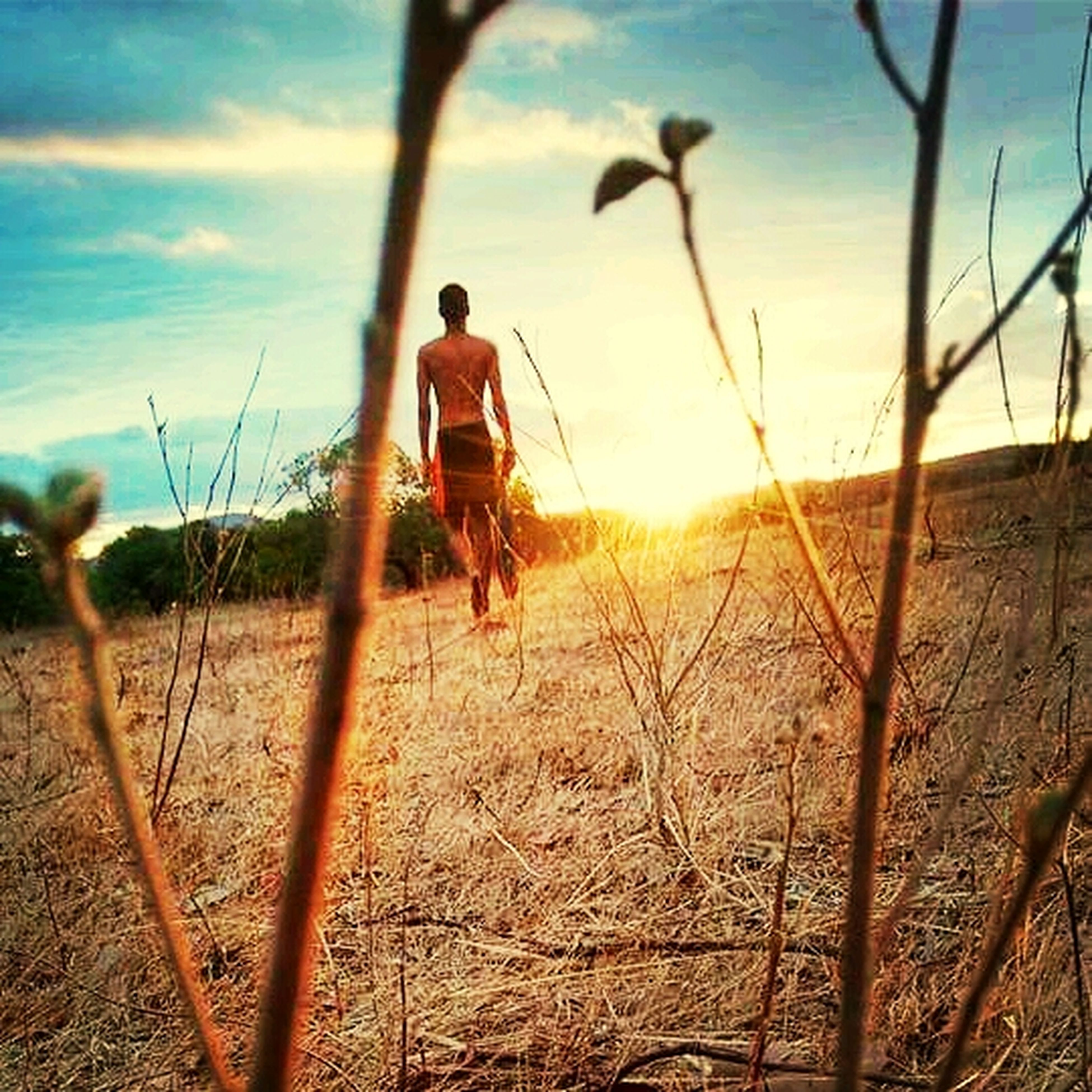 full length, leisure activity, lifestyles, sky, childhood, casual clothing, standing, boys, field, landscape, elementary age, sunlight, nature, rear view, sand, fence, walking, grass