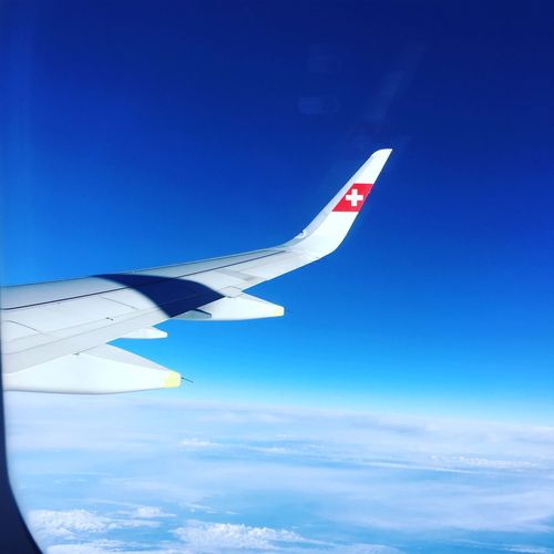 Your Ticket To Europe Blue Airplane Sky Flying Cloud - Sky Airplane Wing No People Air Vehicle Swiss Swissair Flugzeug Triptobarcelona Your Ticket To Europe Mix Yourself A Good Time