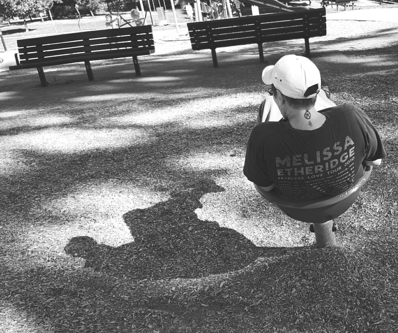 Me And My Shadow Black And White Park Scene Playfulness Back Turned Capture The Moment Bnw_friday_eyeemchallenge Picturing Individuality Uniqueness