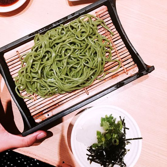Visual Feast Cha soba, cold. Soba Ocha Greentea Food And Drink Indoors  Freshness Table Food High Angle View Chopsticks Human Hand