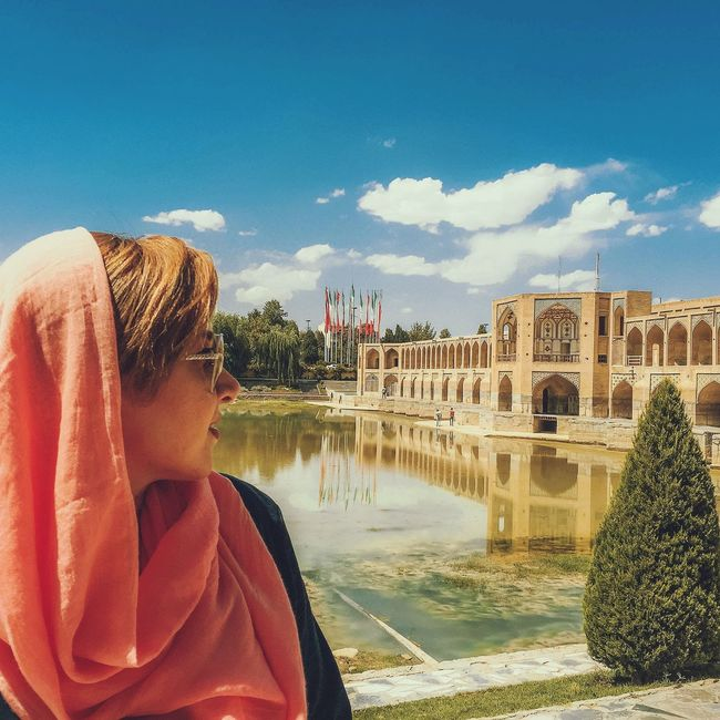 You must see Esfahan Water Reflection One Woman Only Sky Outdoors Cloud - Sky Cityscape Bridge First Eyeem Photo