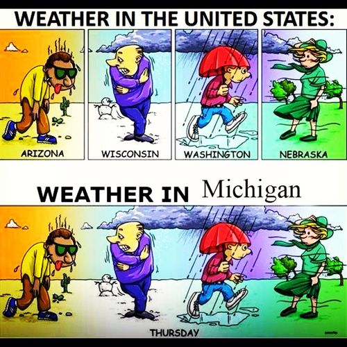 Yep, sums up weather in Michigan pretty good I'd say! ☀⚡☔❄
