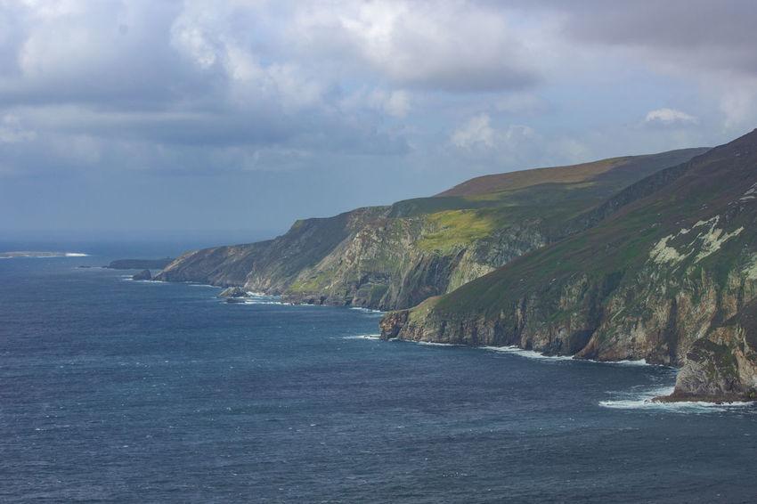 Cloudy Coastline Ireland Landscape Mountain Mountain Range No People Sea