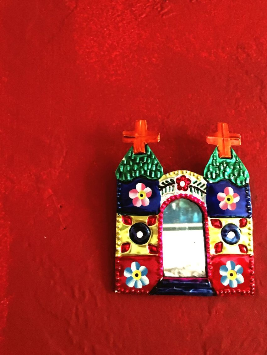 Punched Tin Mexican Folk Art Folkart Mexican Culture Art Mirror Wall Art Red Colorful Colors Still Life Folk Art  Decoration