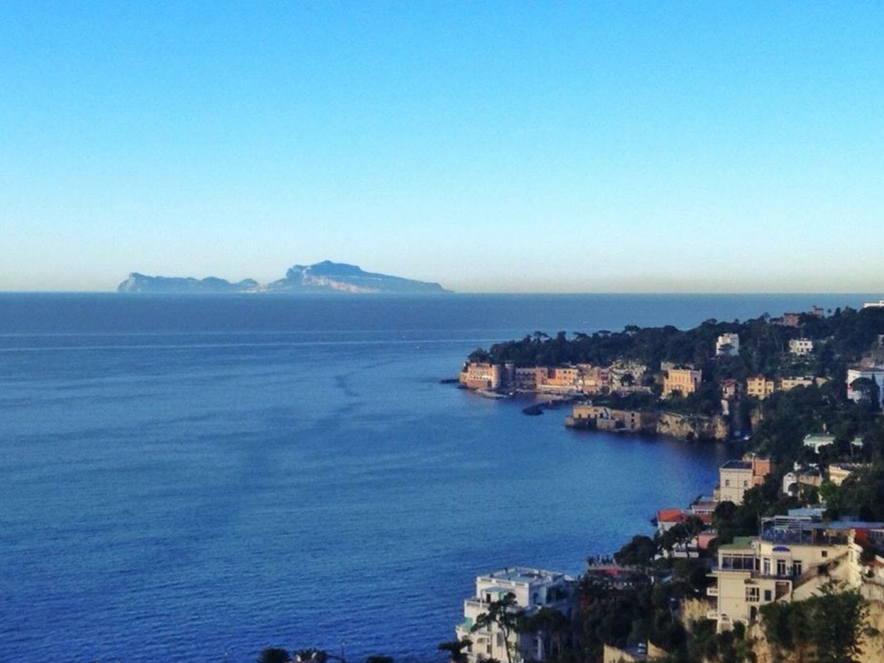 Napoli. Collina di Posillipo Sea Built Structure Architecture Building Exterior Blue Water Clear Sky Nature No People Horizon Over Water Copy Space Scenics Outdoors Day Beauty In Nature Waterfront Mountain Sky Residential Building Tranquility Napoli ❤ Napoli Naples Travel Destinations Tourism