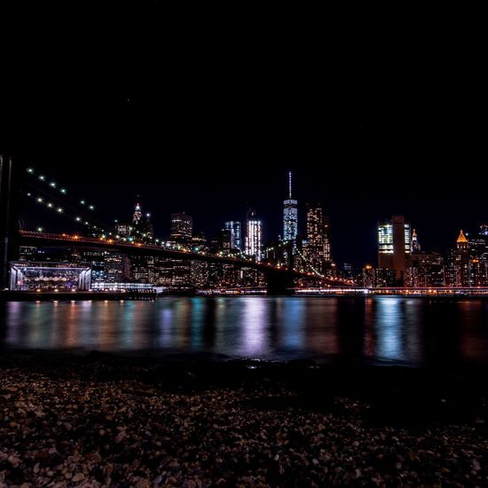 Brooklyn Bridge  New York City Manhattan Illuminated City Cityscapes Water Night Nightphotography Night Photography Lights