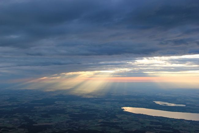 Aerial View Aerial Shot Hot Air Ballooning Landscape Landscapes Nature Scenics Scenic Calm Tranquil Scene Tranquility Ammersee Over The Ground Lake View Lake Light And Shadow Sunbeams Sun Behind Clouds Sun Beam On The Way Relaxing Adventure Showcase July The Journey Is The Destination