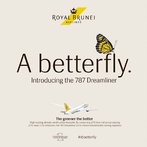Say hello to the @royalbruneiair Dreamliner ... A Betterfly ... Brunei InstaBruDroid Andrography