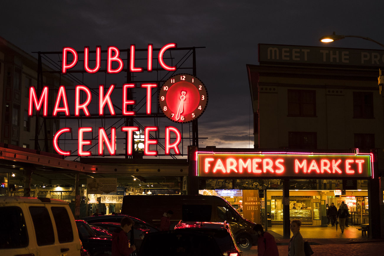 Architecture City City Life Clock Clock Face Cultures Downtown District Fujifilm FUJIFILM X-T1 Illuminated Neon Night Nightlife No People Outdoors Pike Place Market Red Red Light Seattle Sky Text The Week On Eyem Travel Travel Destinations