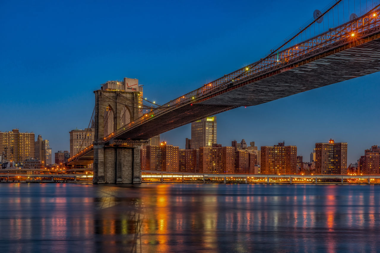 Beautiful stock photos of twilight, Architecture, Blue, Bridge - Man Made Structure, Brooklyn Bridge