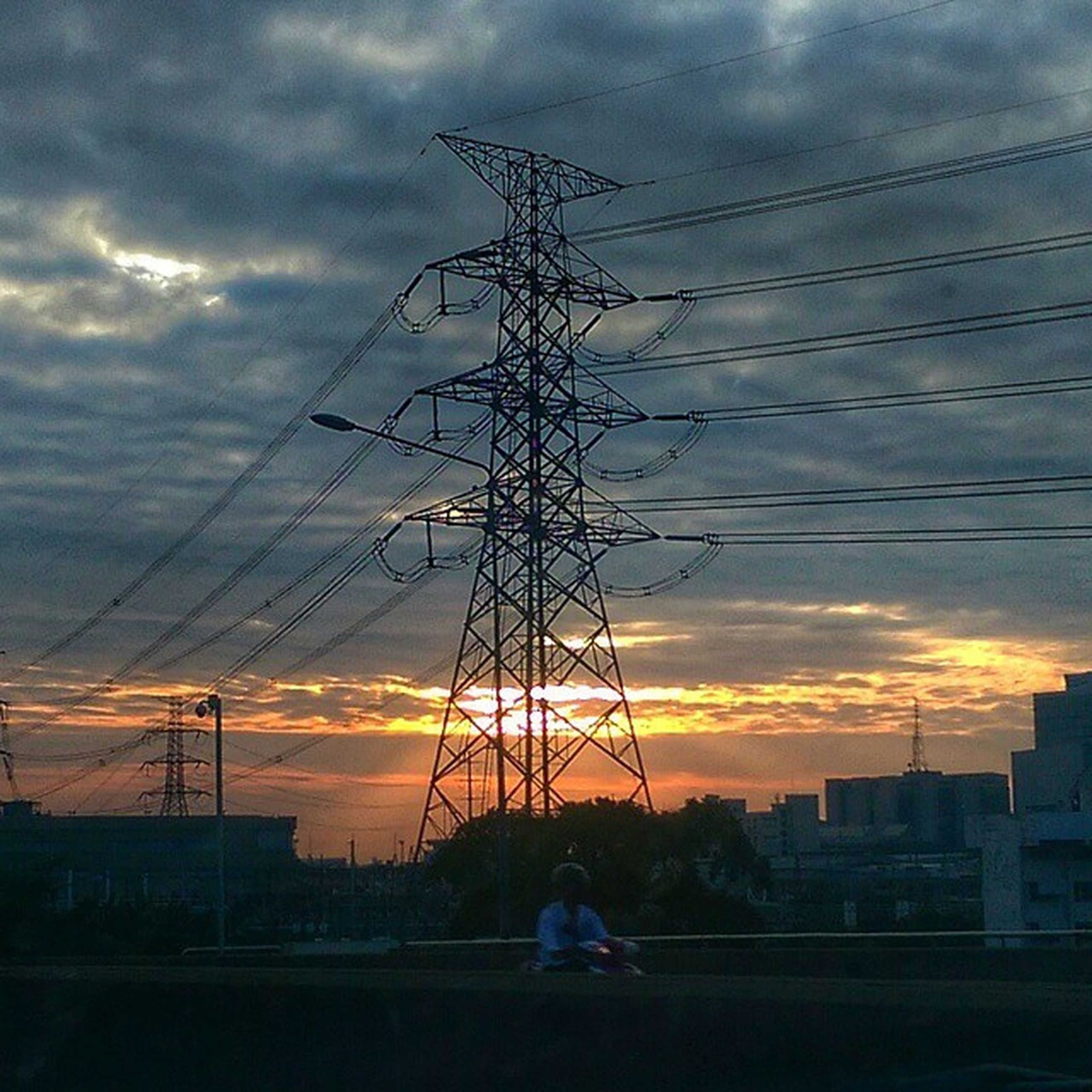 sunset, power line, electricity pylon, sky, silhouette, cloud - sky, power supply, cable, electricity, connection, cloudy, orange color, cloud, fuel and power generation, dramatic sky, technology, power cable, nature, dusk, low angle view