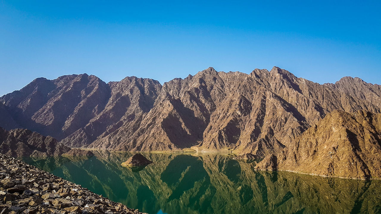 Reflection Hatta Dubai Tranquility Clear SkyMountain View Water Reflections The Great Outdoors - 2017 EyeEm Awards