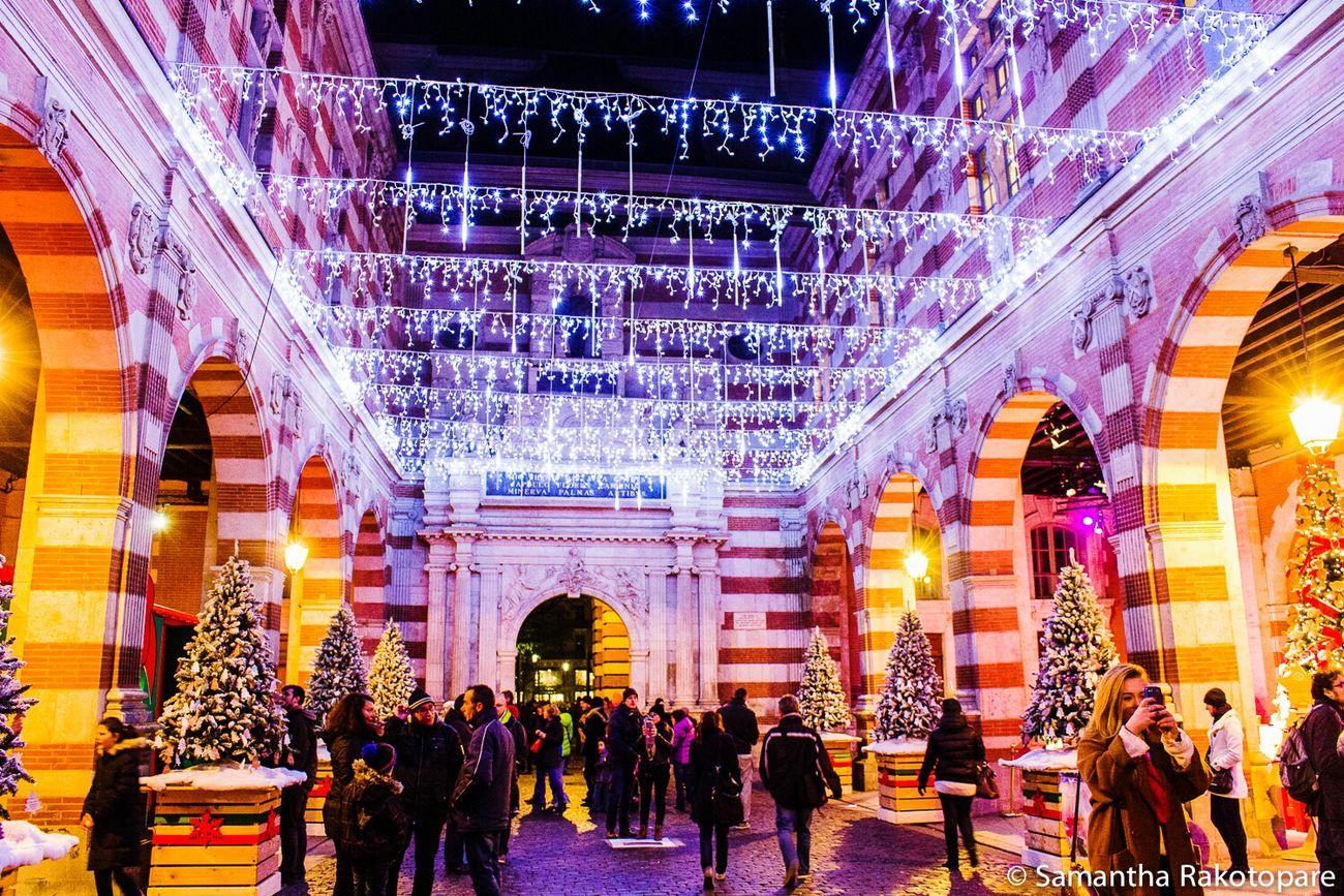 Christmas Lights Beautiful Toulouse France Colorful Souvenirs 2014 Place Du Capitole Canon600D