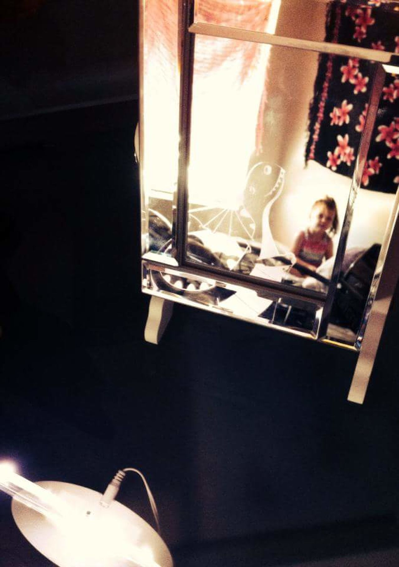 Mirror Picture Mirror Shot Domestic Room Indoors  Sister In Reflection Real People Smiling Children Photography Child Reflection In Mirror