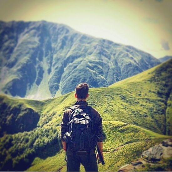 Mountain Caucasus Georgia Landscape Hiking Adventure Human Back Rear View Nature Beauty Broaden Your Horizon On The Top Of The World