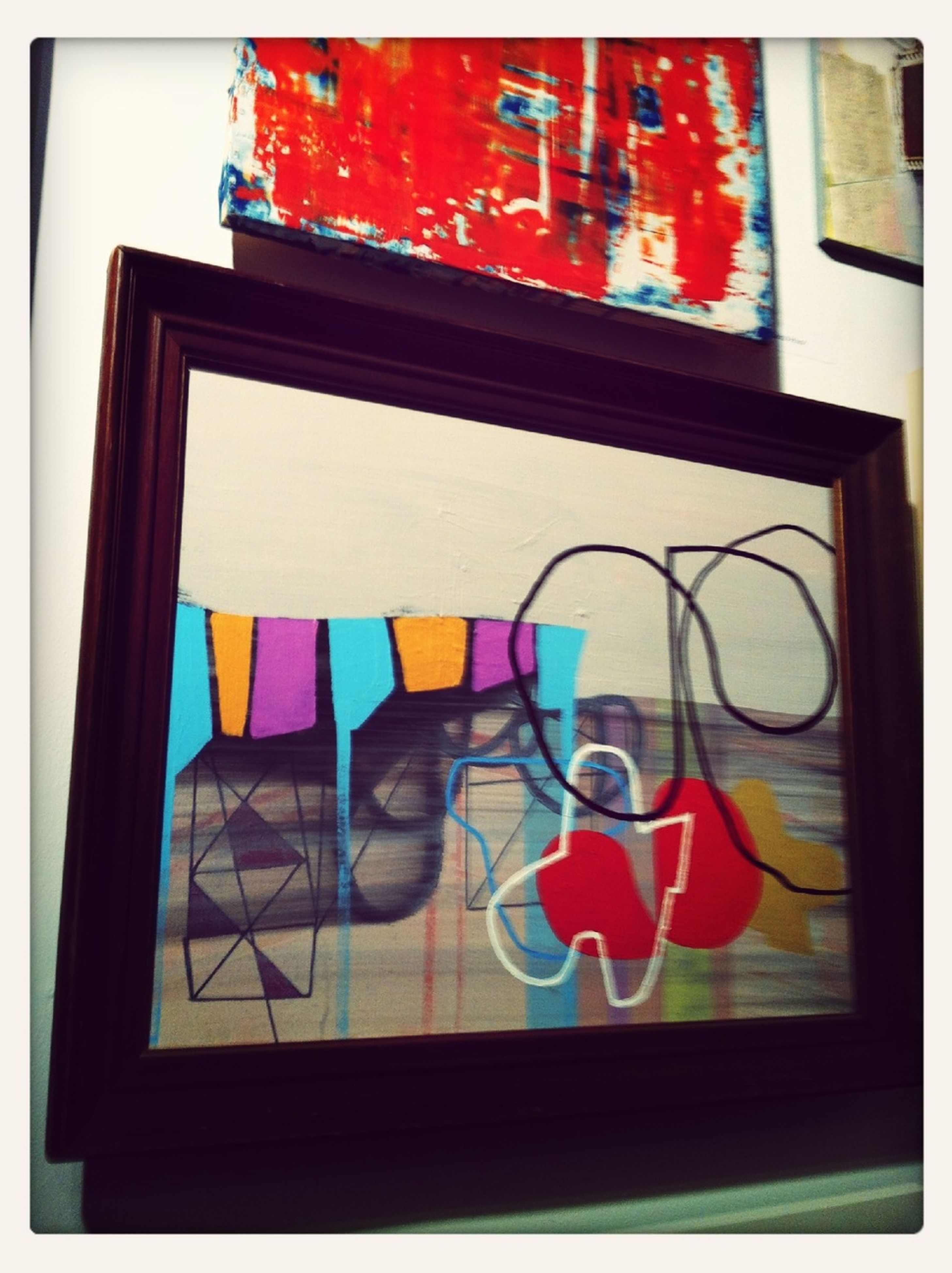 transfer print, multi colored, auto post production filter, window, indoors, built structure, architecture, building exterior, red, glass - material, hanging, art and craft, art, childhood, day, no people, reflection, variation, still life, creativity