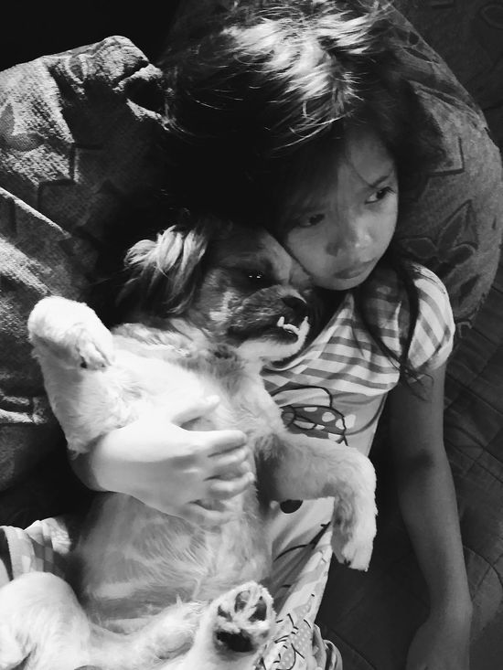 A girl and her dog. Home Is Where The Art Is Portrait Black And White Family Daughter Relaxing Everyday Life Solitude Monochrome