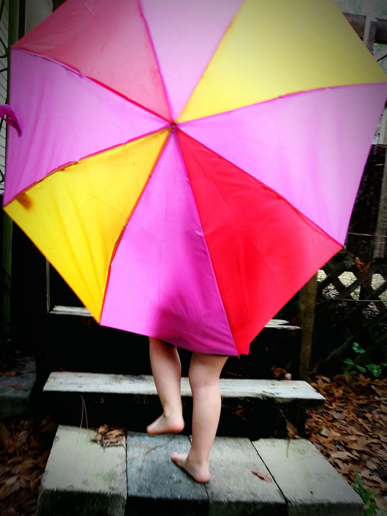 Rain And Rainbows Multi Colored Umbrellas Playing In The Rain Singing In The Rain From Behind Childhood People Family Weekends Spring Toddlers  Millennial Pink The Secret Spaces EyeEm Diversity Art Is Everywhere Live For The Story
