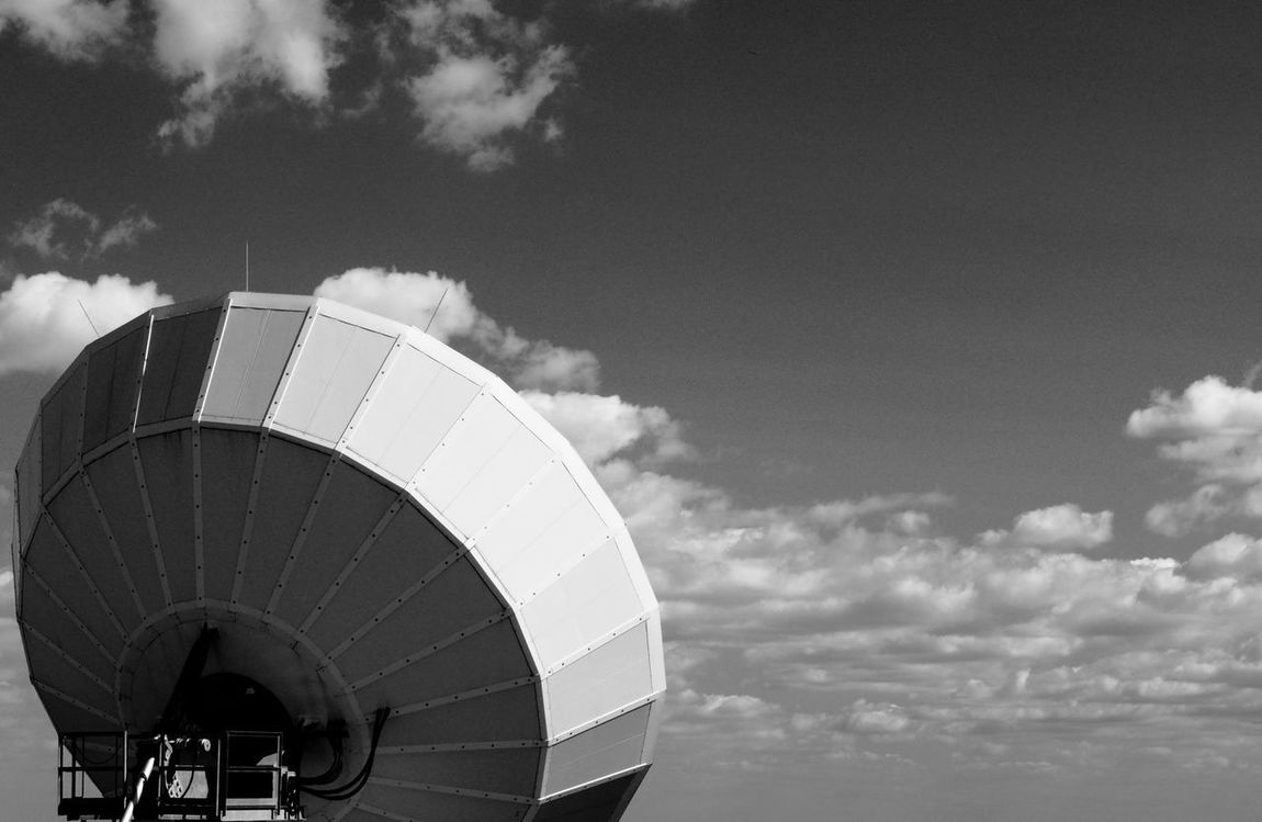 Satellite Antennas Sattelite Architecture Blackandwhite Blackandwhite Photography Cloud - Sky Communication Day Low Angle View Monochrome No People Outdoors Radar Sky Technology