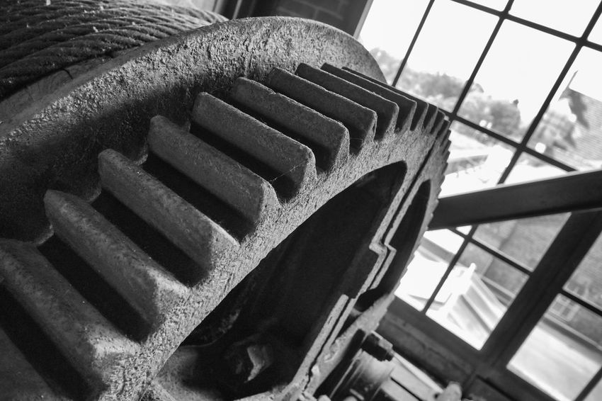 Old Gear winding Tower Architecture Black-and-white Close-up Coal Mine Day Dortmund Drive Eroded Gear Industrial Culture Industry Machine Mechanical Engineering No People Old Outdoors Ruhr Area Rusty Sky Technology