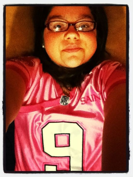Looking cute in my new pink Brees Jersey