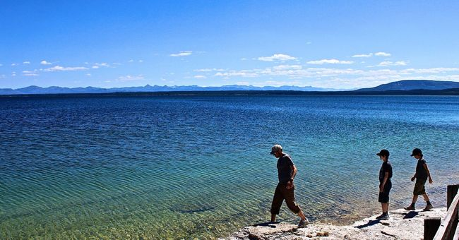 Beauty In Nature Blue Enjoyment Idyllic Lake View Leisure Activity Lifestyles Nature Outdoors Relaxation Scenics Sea Sky Tranquil Scene Tranquility Vacations Water Yellowstone Lake