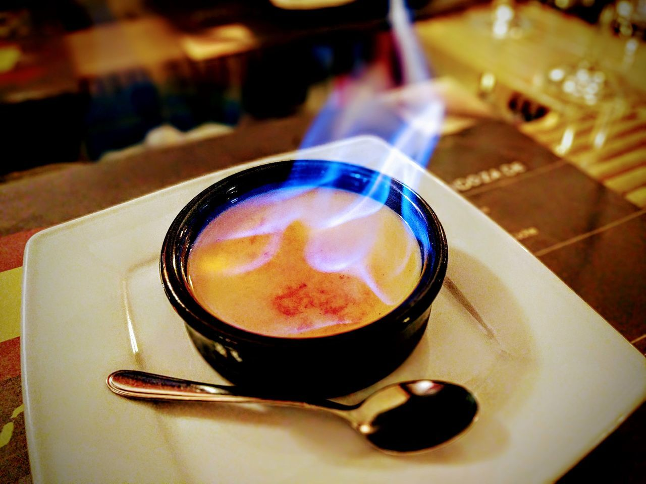 Creme Catalan Desert Italian Food And Drink Close-up Fire On Fire 😚 Teampixel