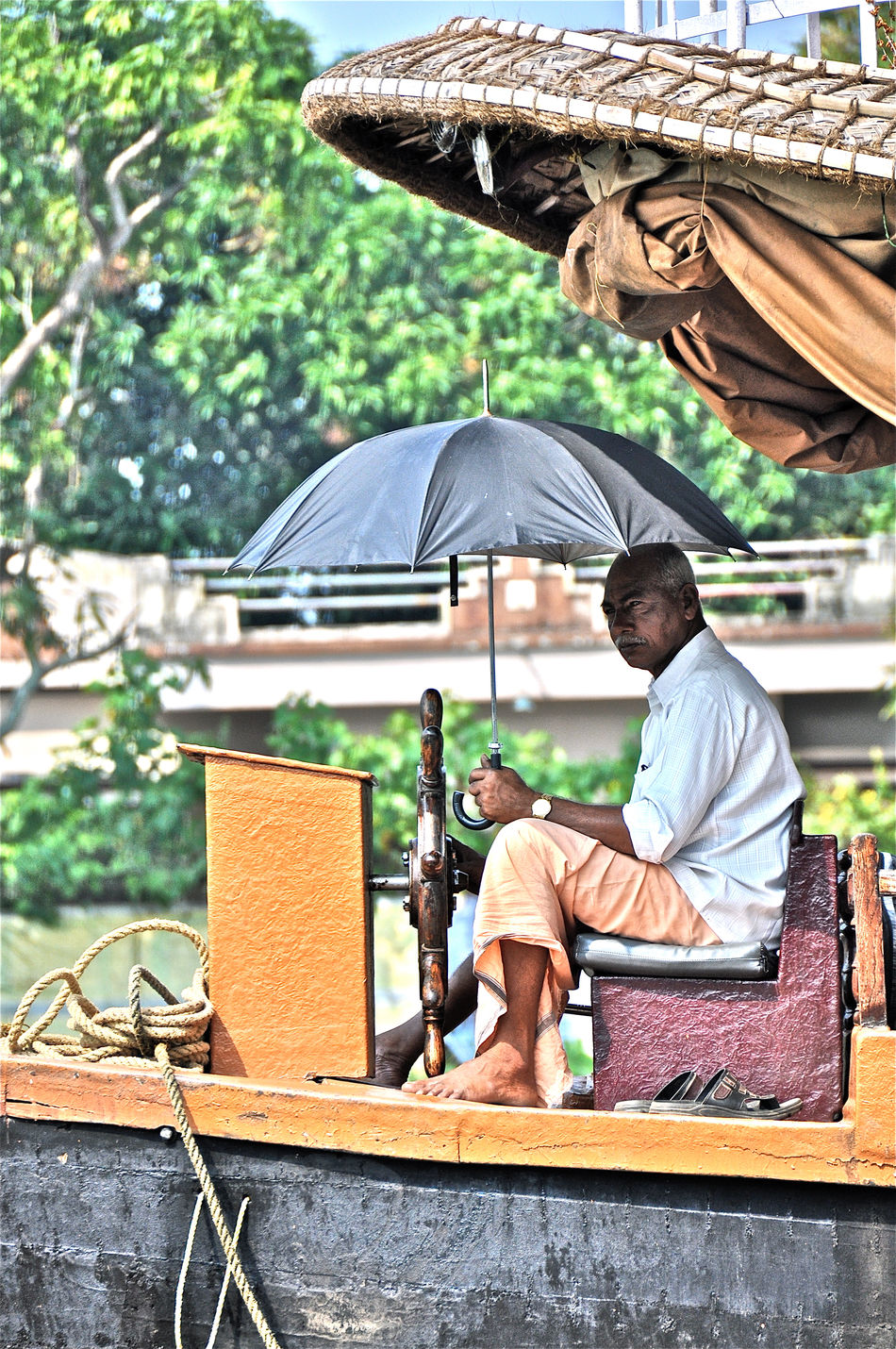 Backwaters India Indian Man Kerala