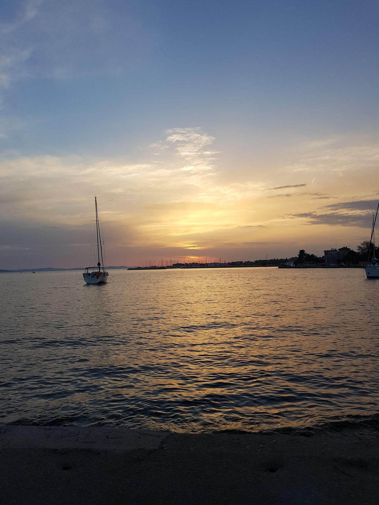 Beauty In Nature Cloud - Sky Nature Nautical Vessel Sailboat Sea Sky Sunset Tranquility Water