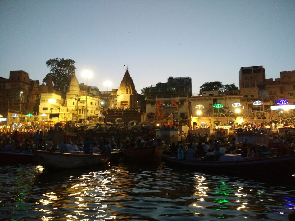 Water Cityscape Outdoors Night City Illuminated EyeEm Diversity Gangaghat Gangaarti Varanasi, India Ganges, Indian Lifestyle And Culture, Bathing In The Ganges, Great View Heritagesite EyeEmNewHere The Secret Spaces