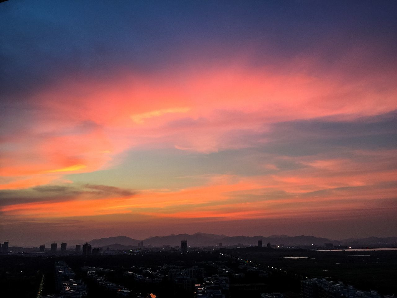 Cityscape City Architecture Sunset Built Structure Building Exterior Residential District Orange Color Residential Building Residential Structure Crowded High Angle View Sky Mountain Cloud - Sky City Life Cloud Development Romantic Sky Dramatic Sky Zhuhai China