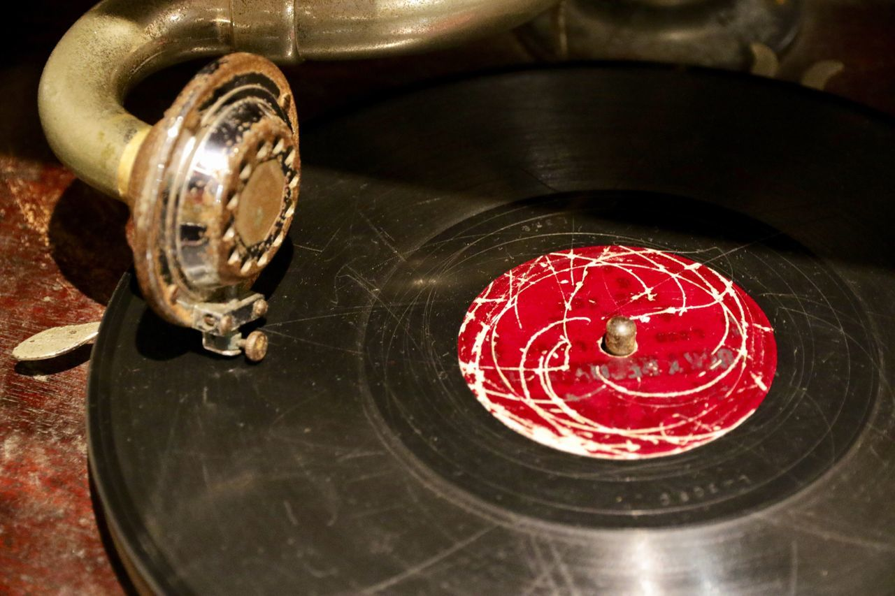 High Angle View Red Indoors  Motion No People Water Close-up Day Record Records Record Player Music Old