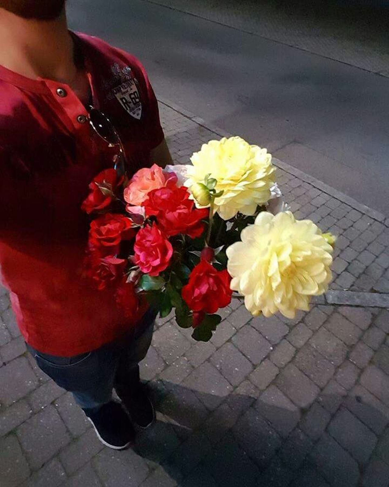 Flower Bouquet Red Fragility Midsection Holding Adult Close-up Adults Only Gerbera Daisy One Person Outdoors People Flower Head Day