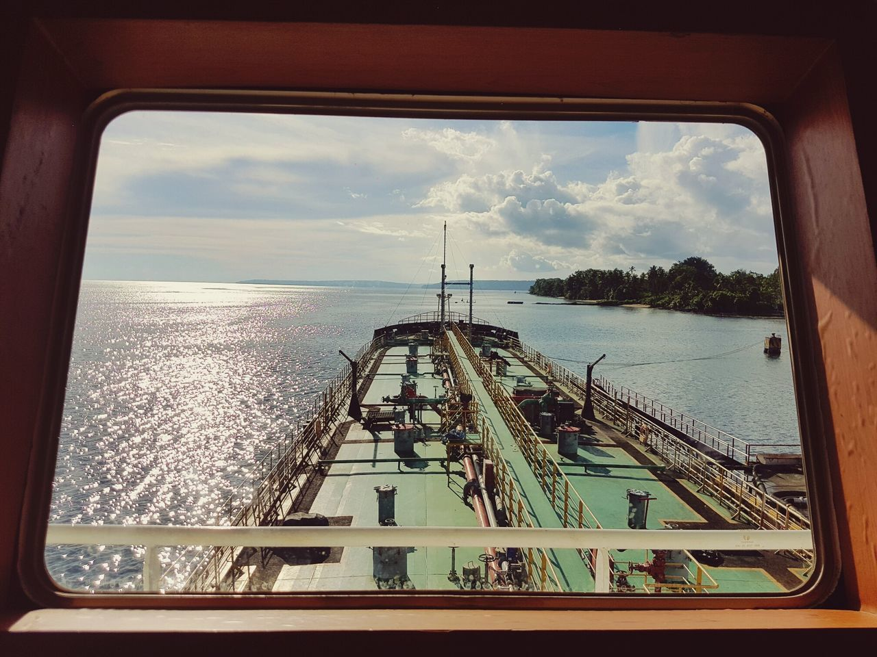 Nautical Vessel Window Tanker Diminishing Perspective Sailing Harbor Cloud Transparent Sea Ship Transportation Sky Biak Papua Indonesia