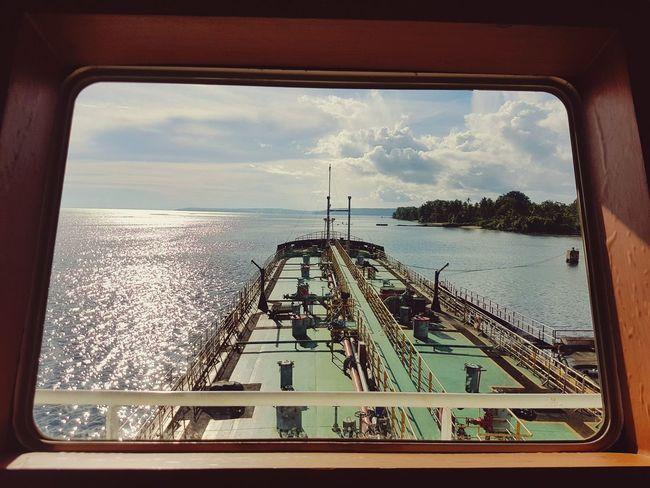 Nautical Vessel Window Tanker Diminishing Perspective Sailing Harbor Cloud Transparent Sea Ship Transportation Sky Biak Papua Indonesia